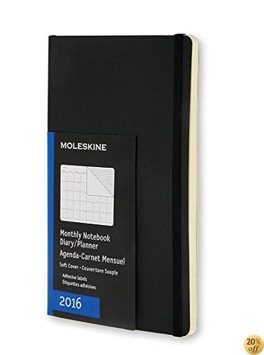 TMoleskine 2016 Monthly Notebook, 12M, Pocket, Black, Soft Cover (3.5 x 5.5)