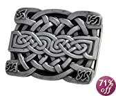 Buckle Rage Men's Celtic Endless Knot Braided Art Design Belt Buckle Black