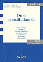 Droit constitutionnel. Édition 2015…