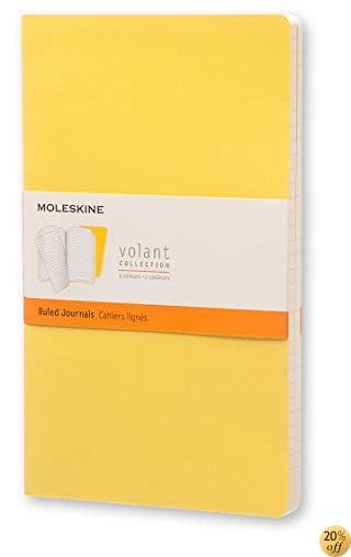 TMoleskine Volant Journal (Set of 2), Large, Ruled, Sunflower Yellow, Brass Yellow, Soft Cover (5 x 8.25)