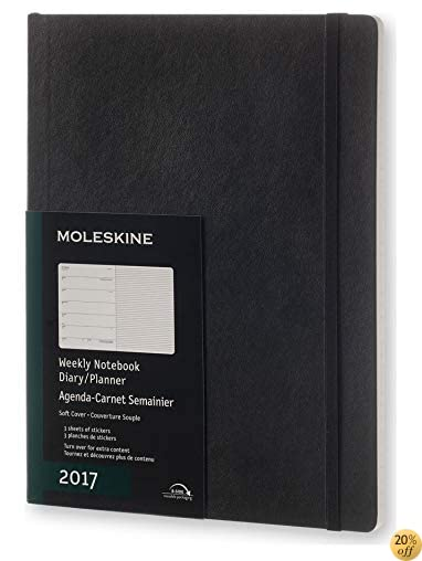 Moleskine 2017 Weekly Notebook, 12M, Extra Large, Black, Soft Cover (7.5 x 10)