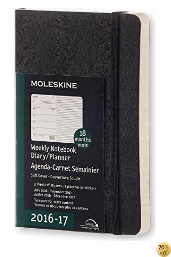 TMoleskine 2016-2017 Weekly Notebook, 18M, Pocket, Black, Soft Cover (3.5 x 5.5)