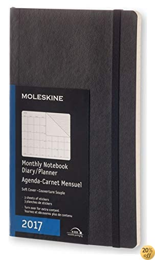 TMoleskine 2017 Monthly Notebook, 12M, Large, Black, Soft Cover (5 x 8.25)