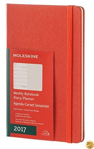TMoleskine 2017 Weekly Notebook, 12M, Large, Coral Orange, Hard Cover (5 x 8.25)