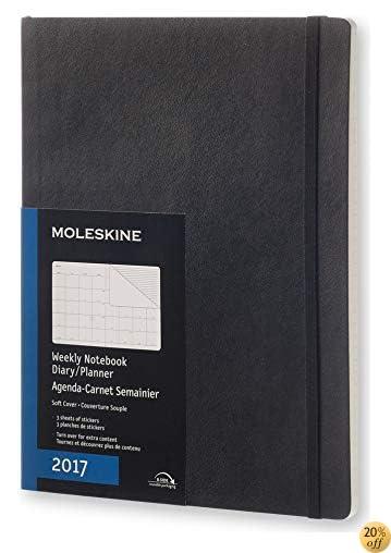 TMoleskine 2017 Monthly Notebook, 12M, Extra Large, Black, Soft Cover (7.5 x 10)