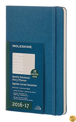 TMoleskine 2016-2017 Weekly Notebook, 18M, Large, Steel Blue, Hard Cover (5 x 8.25)