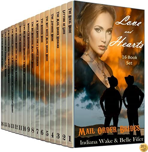 16 Book Mail Order Bride Mega Boxed Set: Love and Hearts Ride West: Clean Western Historical Sixteen Novella Book Bundle
