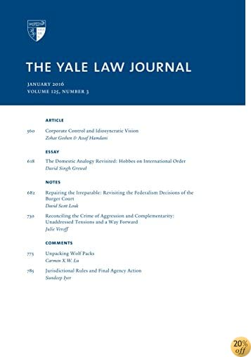 Yale Law Journal: Volume 125, Number 3 - January 2016