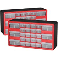2-Pack Akro-Mils 26-Drawer Hardware & Craft Cabinets (Red and Black)