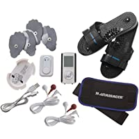 IQ Massager TENS Pro IVs Combo with Belt & Slippers (Black)