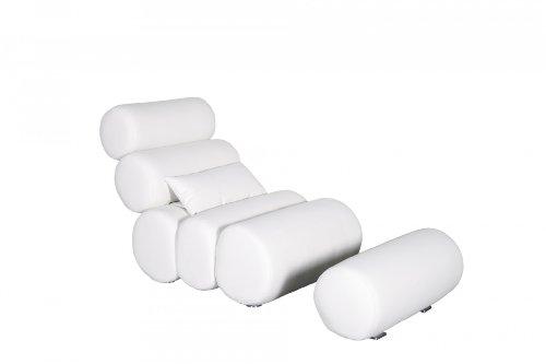Miraseo MYHHRS61C Daniel Chaiselongues - Relaxliege, hochwertiger Loungestuhl Fernsehsessel in Napalonleder und Textil Creme, edler design comfort TV Liegesessel mit den Maßen: 76 x 133x95 cm