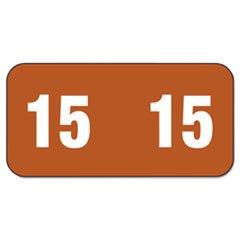 ** Year 2015 End Tab Folder Labels, 1/2 x 1, Brown/White, 25