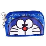 Lovely Cartoon Doraemon Print Dual-Zippers Purse with Hand Strap(Blue)