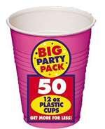 BIG PACK 12-OZ PLASTIC CUPS BRIGHT PINK 50 COUNT
