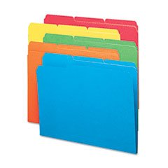 File Folders, 1/3 Cut Top Tab, Letter, Bright Assorted Color