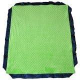 """Cozy Wozy Minky Dot Baby Blanket With Luxurious Satin Trim, Lime Green/navy Blue, 32"""" X 38"""""""