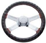 18″ Steering Wheel Cover Black Leather Cover For Semi Trucks