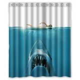 White Shark Bathroom Shower Curtain
