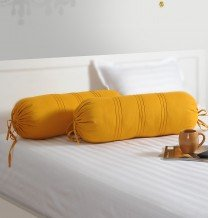 Swayam Drape And Dream Cotton 2 Piece Bolster Cover Set - Yellow (BC02)