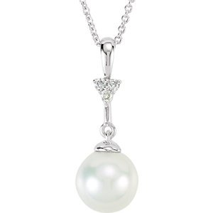 Genuine IceCarats Designer Jewelry Gift 14K White Gold Pearl And .01Ctw Dia Nck 07.50 Mm 18 Inch Pearl And .01Ctw Dia Nck In 14K White Gold