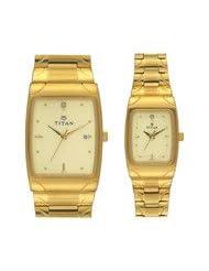 Titan Bandhan Analog Champagne Dial Couple Watch - NC19372937YM02