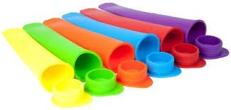 The Trusty Baker- Silicone -Popsicle molds- set of 6-NON BPA- Unattached lids- FREE SHIPPING