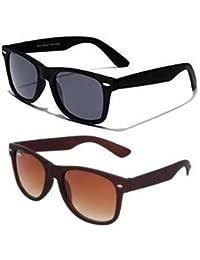 Sheomy Combo Of Black Blue Matte Wayfarer And Brown Matte Wayfarer Sunglasses With 2 Box (Sun-033)