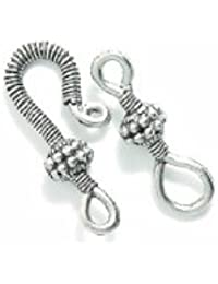 Shipwreck Beads Pewter Fancy Wrap Hook And Eye Clasp, Silver, 47mm, Set Of 2
