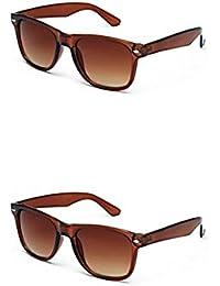 SHEOMY COMBO OF BROWN WAYFARER AND BROWN WAYFARER SUNGLASSES WITH 2 BOX (SUN-034)