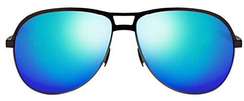 John Jacobs JJ 15028 Matte Black Gunmetal Blue Green Mirror C2 Aviator Polarized Sunglasses (102358)