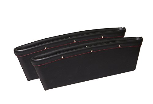 Car Seat Console Gap Filler Side Pocket Organizer – Premium PU Full Leather Inside Out Car Interior Accessories – Stop it before Drop (Set of 2-Black)