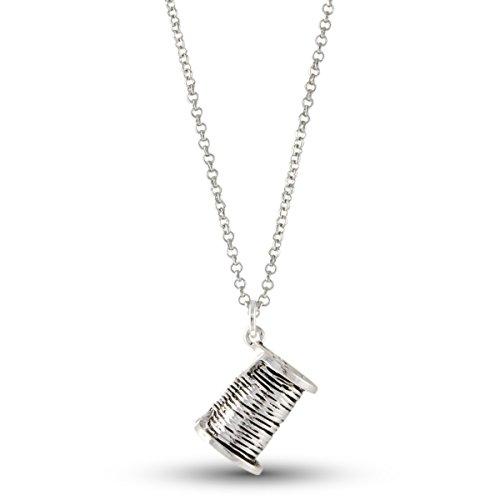 Sewing Needle Thread Spool Silver Tone Seamstress Pendant Necklace