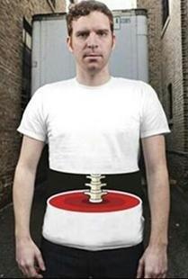 【おもしろ】輪切りにされた!? おもしろ 3D Tシャツ 輪切り Lサイズ  クリスマス 忘年会 に!