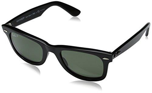 Ray-Ban RB2140 Original Wayfarer Sunglasses, Black/Polarized Green, 50 mm
