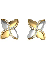 Suvam Swarovski Crystal 92.7 Sterling Silver White And Gold Plated Stud Earring