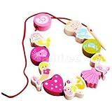 Alcoa Prime 10 Pcs Fastening Wooden Mermaid Beads Threading Beads Kids Learning Toys