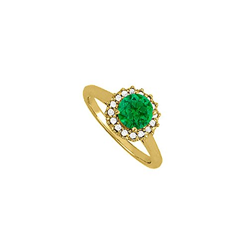 Emerald And Cubic Zirconia Halo Engagement Ring In Yellow Gold Plated Vermeil With Competitive Price