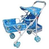 WonderKart Position Foldable Baby Pram With Basket & Canopy (Sky Blue)