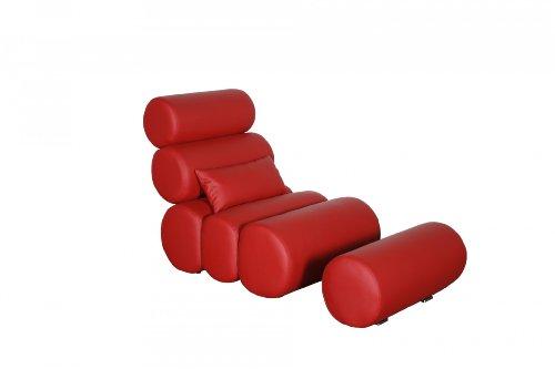 Miraseo MYHHRS61R Daniel Chaiselongues - Relaxliege, hochwertiger Loungestuhl Fernsehsessel in Napalonleder und Textil Rot, edler design comfort TV Liegesessel mit den Maßen: 76 x 133x95 cm