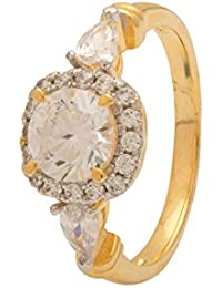 Voylla Women's Solitaire Ring In Yellow Gold Finish