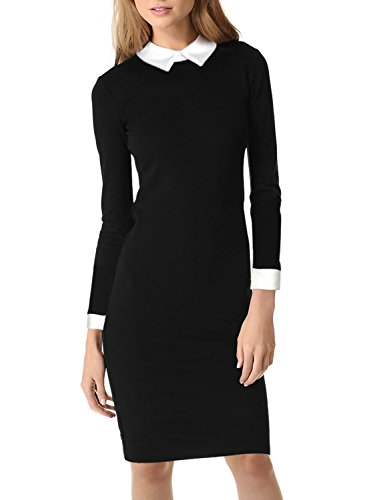 Great Group Halloween Costumes: The Addams Family - Miusol Women's Formal Contrast Color Long Sleeve Black Pencil Business Dress,