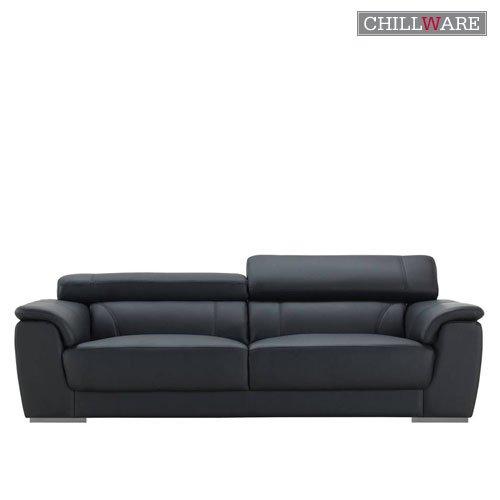 Sofas: ChillWare Sofa ChillWare 100, 3-Sitzer, Leder Leder, Schwarz Leder, Schwarz