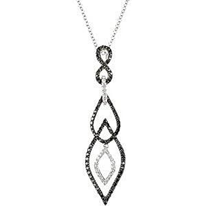 IceCarats Designer Jewelry 14K White Gold 3/4 Ctw Black And White Diamond Necklace