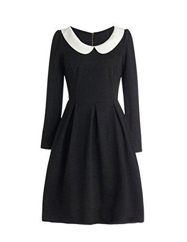 Great Group Halloween Costumes: The Addams Family - Haoduoyi Women's Vintage 1950's Contrast Doll Collar Long Sleeve Zipper Back Cocktail Dress