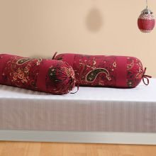 Swayam Drape And Dream Cotton 2 Piece Bolster Cover Set - Maroon (BCP02-3002)