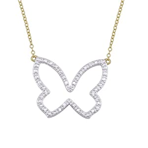 18k Yellow Gold Plated Sterling Silver Diamond Accent Butterfly Necklace, 18