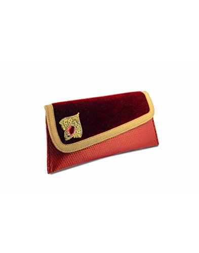Penguin Maroon Flap Cover With Diamond Leaf Clutch