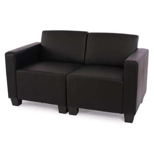 Modular 2-Sitzer Sofa Couch Lyon, Kunstleder ~ schwarz