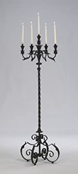 Large Acanthus Multi 5 Taper Wrought Iron Floor Candelabra Tuscan French Gothic Candle Holder Stand Rustic 60