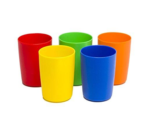 Greenco Set of 5 Unbreakable Reusable Plastic Kids Cups, Ass